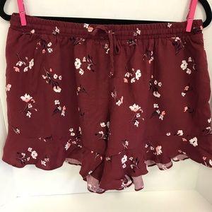 Mossimo Large Burgandy Floral Ruffle Shorts